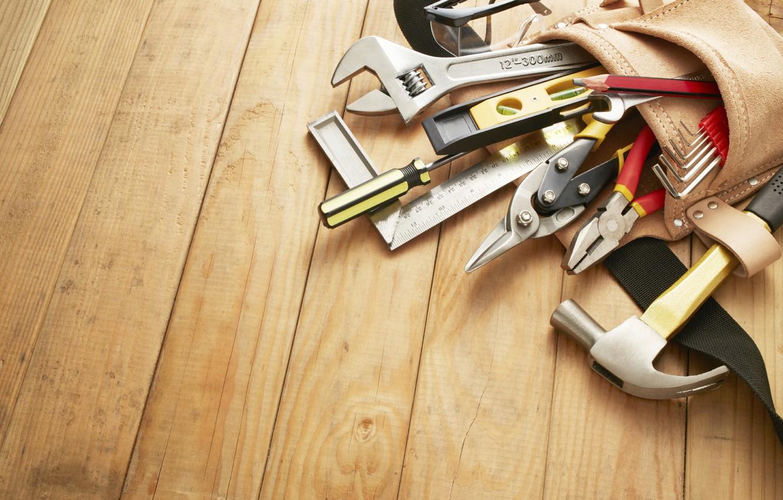 Photo wallpaper floor, tools, installation