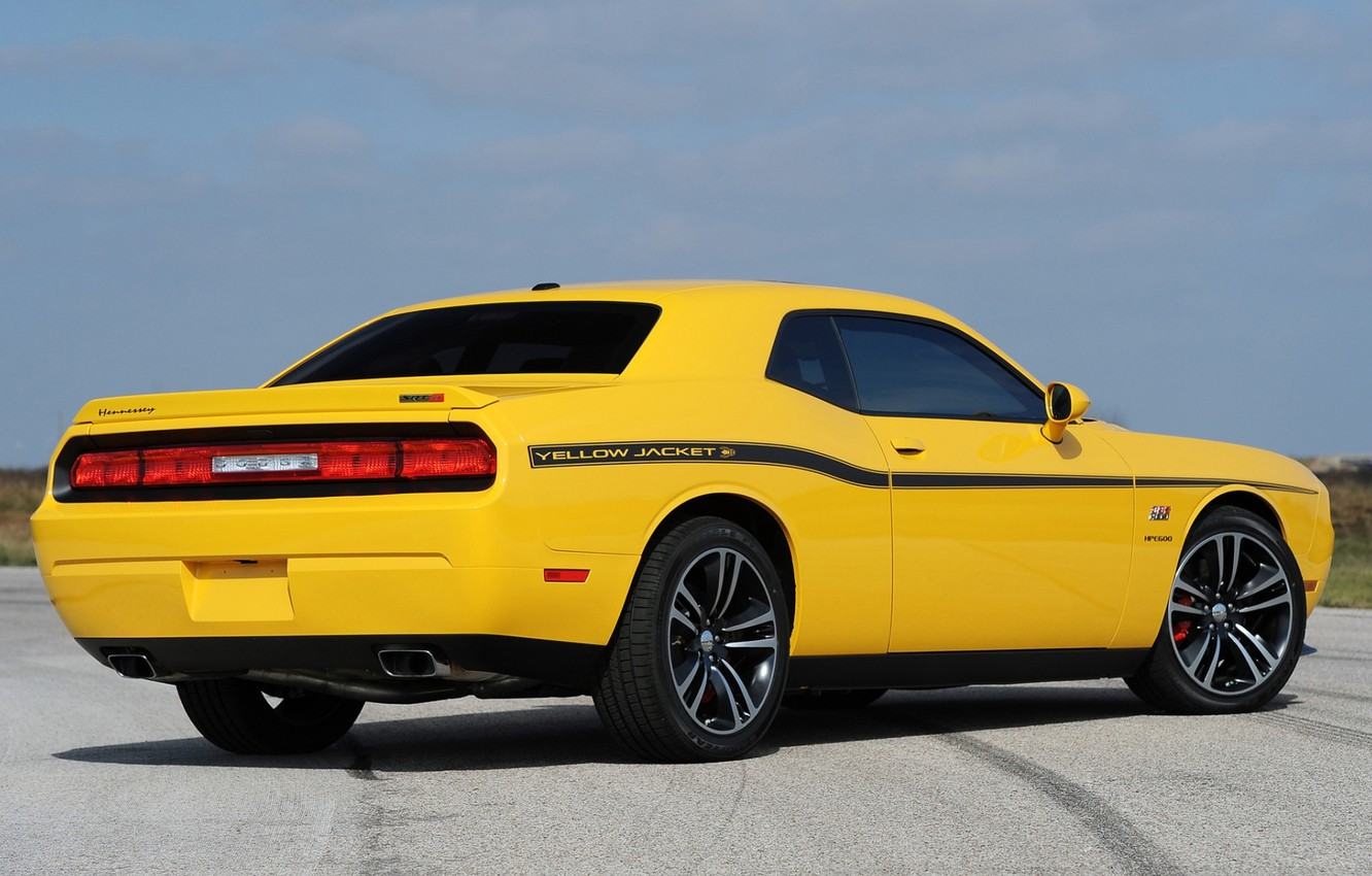Photo wallpaper yellow, Dodge, Dodge, SRT8, Challenger, rear view, Muscle car, 392, Hennessey, Muscle car, Chelenzher, Yellow …