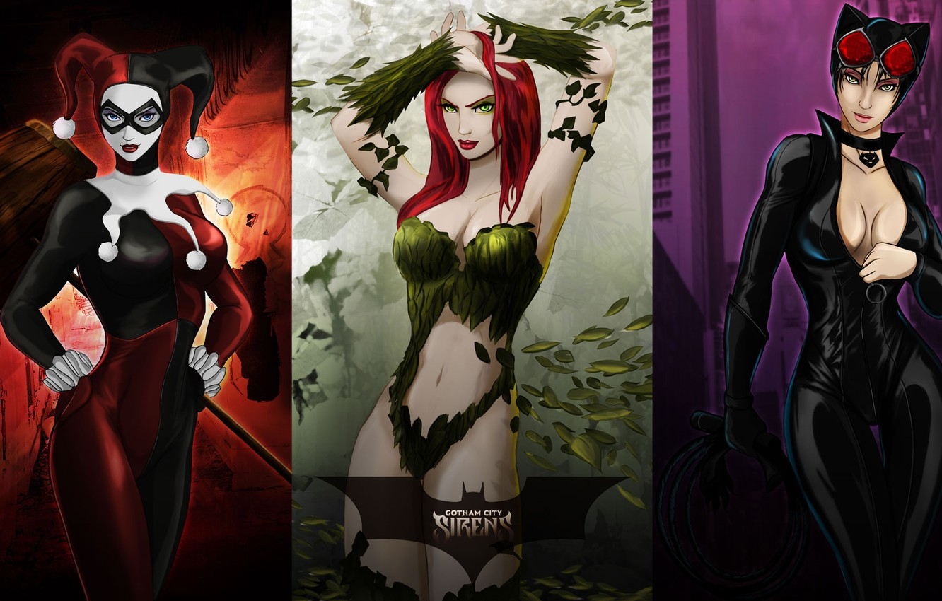 Wallpaper Catwoman Pamela Isley Poison Ivy Harley Quinn Harley