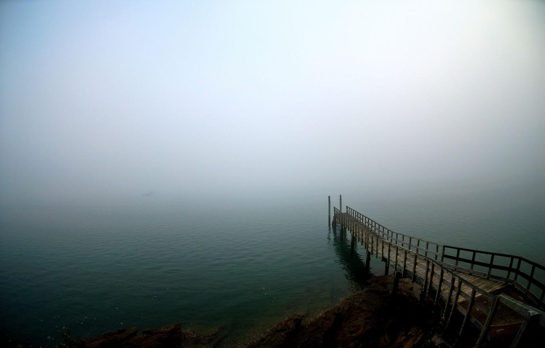 Photo wallpaper fog, pier