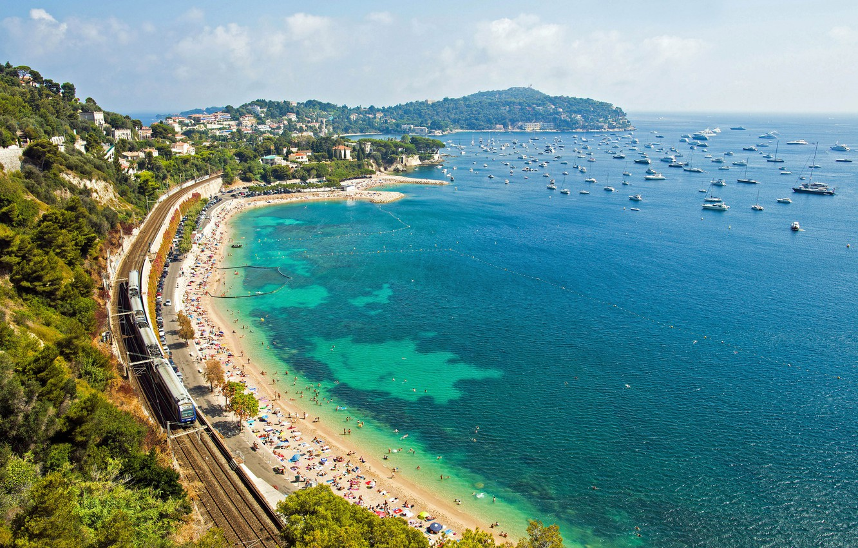 Photo wallpaper beach, coast, France, yachts, train, panorama, railroad, France, Cote d'azur, French Riviera, The Mediterranean sea, …