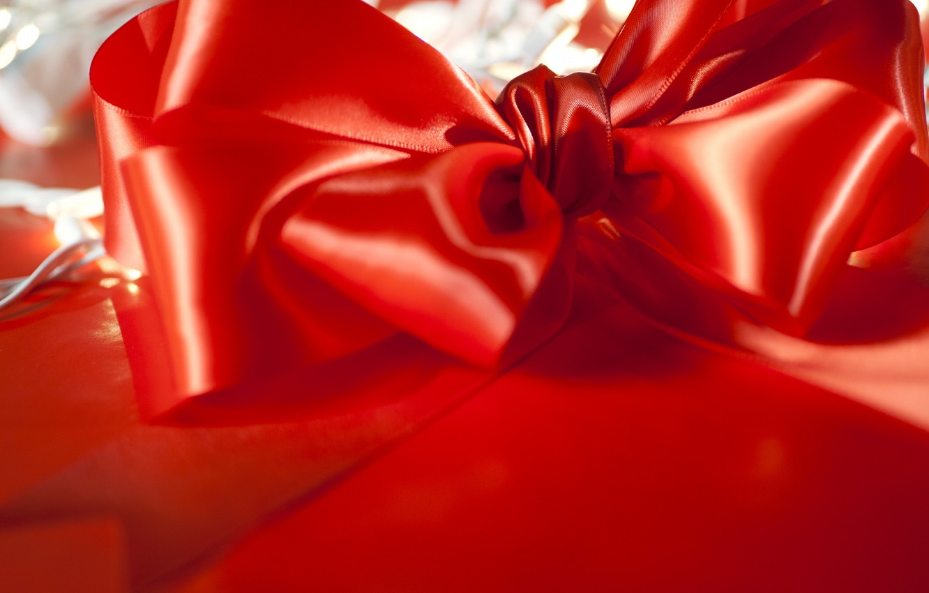 Photo wallpaper red, decoration, bow