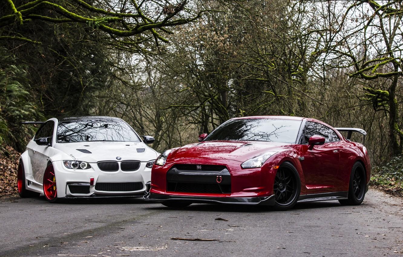 Photo wallpaper Red, Road, Autumn, White, BMW, Tuning, BMW, Nissan, GTR, Nissan, E92, R35