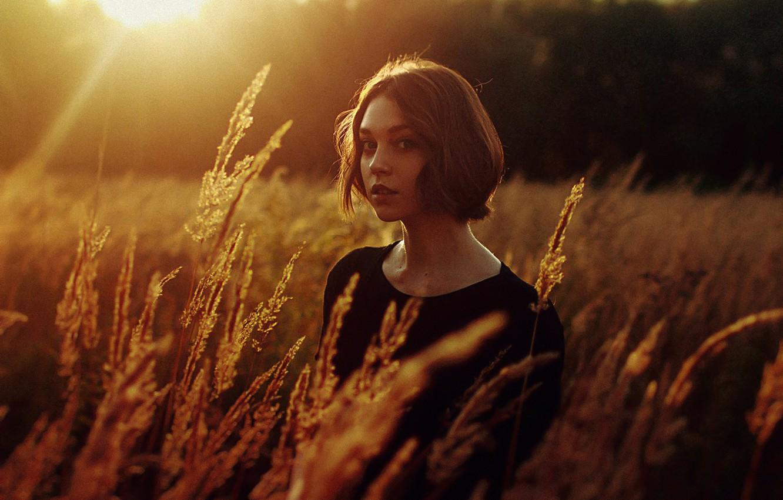 Photo wallpaper The sun, Reflection, Girl, Field, Ears, Hair, Beautiful, Ola Pushkina, Olga Pushkina