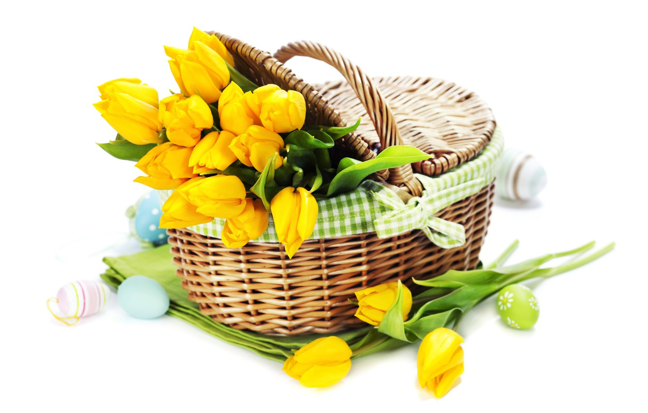 Photo wallpaper holiday, eggs, bouquet, tulips, tulips, Easter, eggs, holiday, bouquet, basket, basket, tulip, Easter