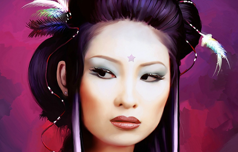 Photo wallpaper eyes, girl, face, woman, star, Japan, feathers, makeup, hairstyle, geisha, Asian