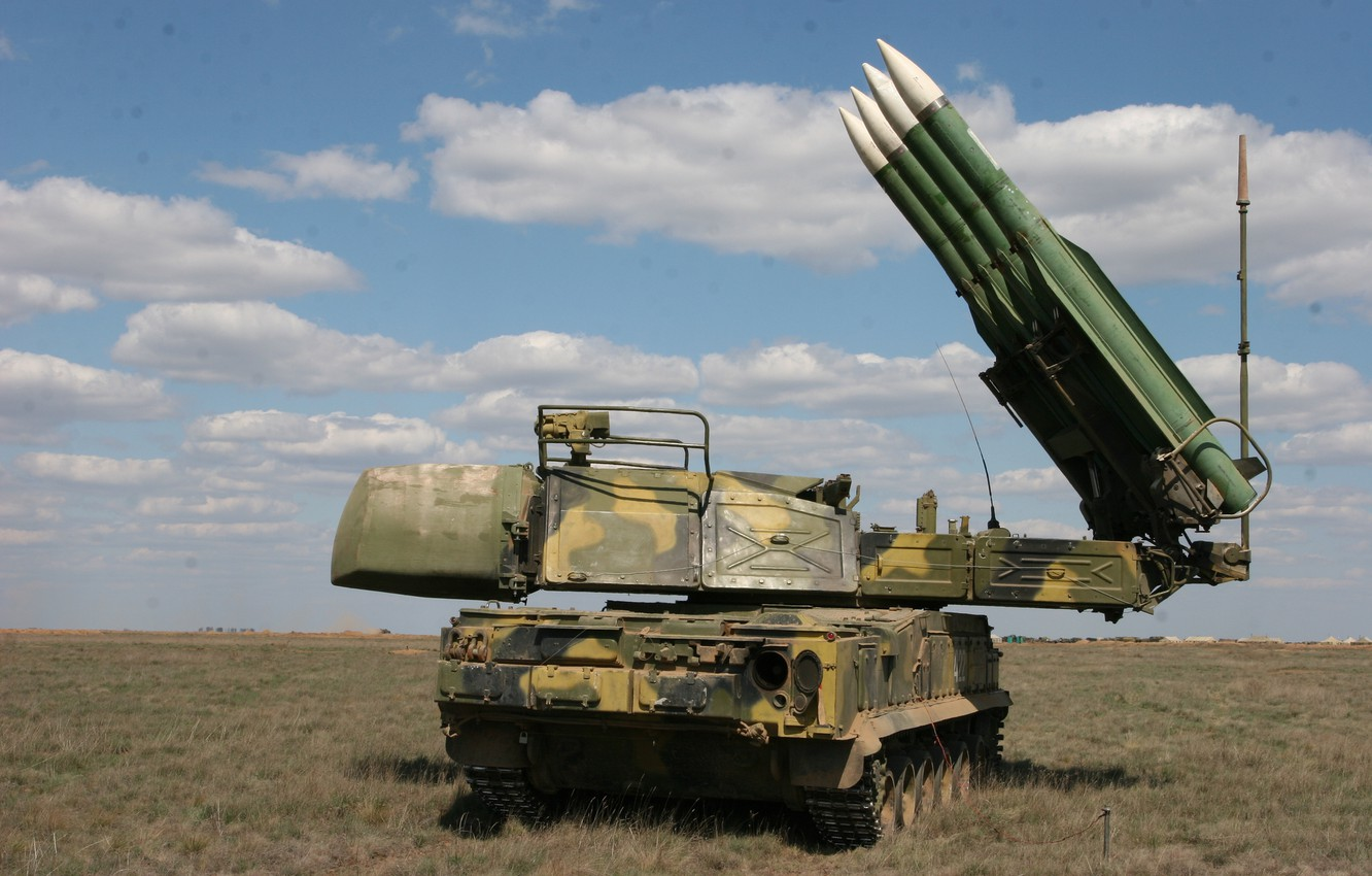 Photo wallpaper field, the sky, installation, self-propelled, complex, Buk-M2, anti-aircraft missile