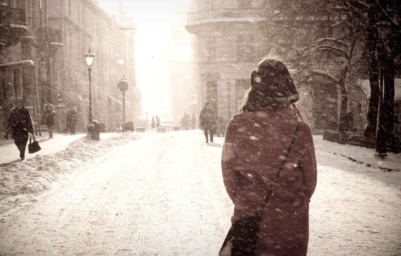 Photo wallpaper winter, girl, snow, the city, Blizzard