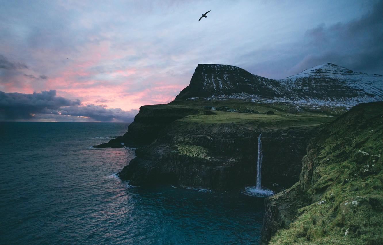 Photo wallpaper sea, mountains, the ocean, rocks, bird, waterfall, village, Faroe Islands