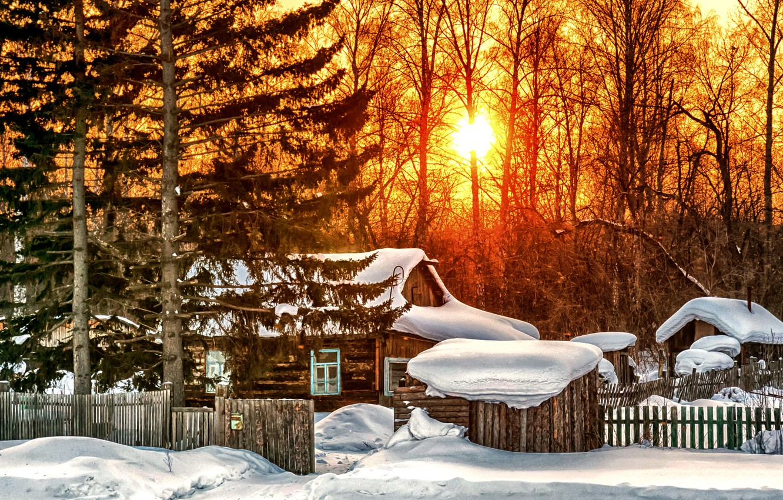 Photo wallpaper winter, the sky, clouds, snow, landscape, nature, house, sunrise