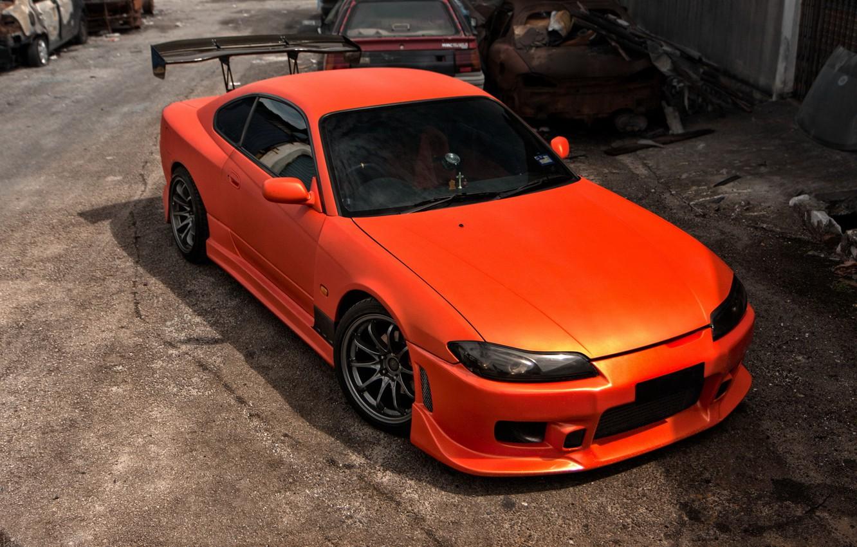 Photo wallpaper S15, Silvia, Nissan, orange