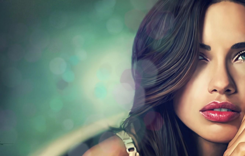 Photo wallpaper girl, face, background, model, art, Adriana Lima