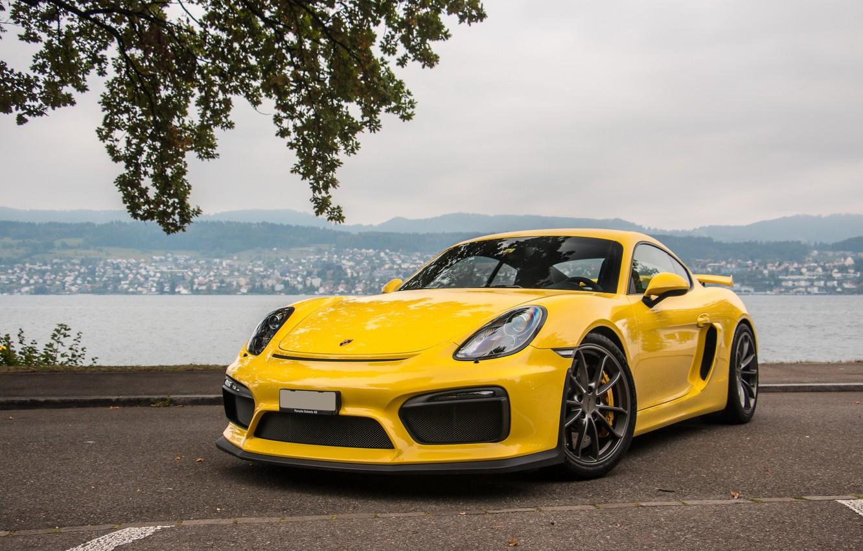 Photo wallpaper Porsche, Cayman, Yellow, GT4