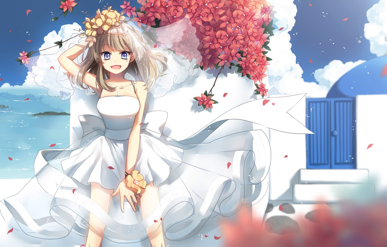 Photo wallpaper the sky, girl, clouds, joy, flowers, anime, petals, art, the bride, veil