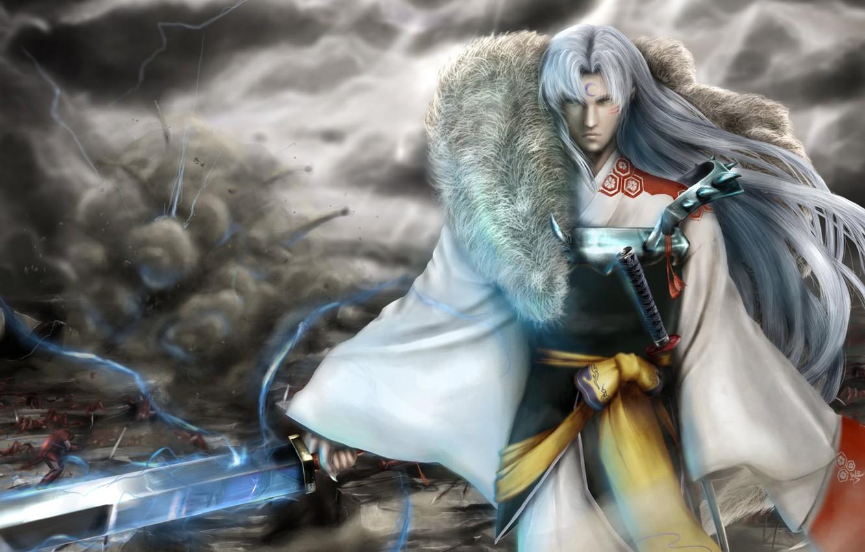 Photo wallpaper look, death, magic, lightning, sword, katana, warrior, destruction, battle, kimono
