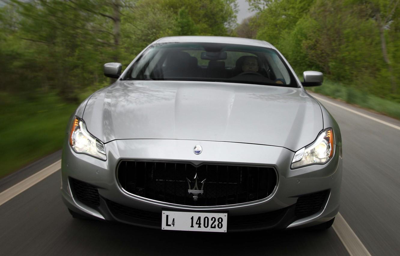 Photo wallpaper machine, lights, Maserati, the hood, Quattroporte S, the front