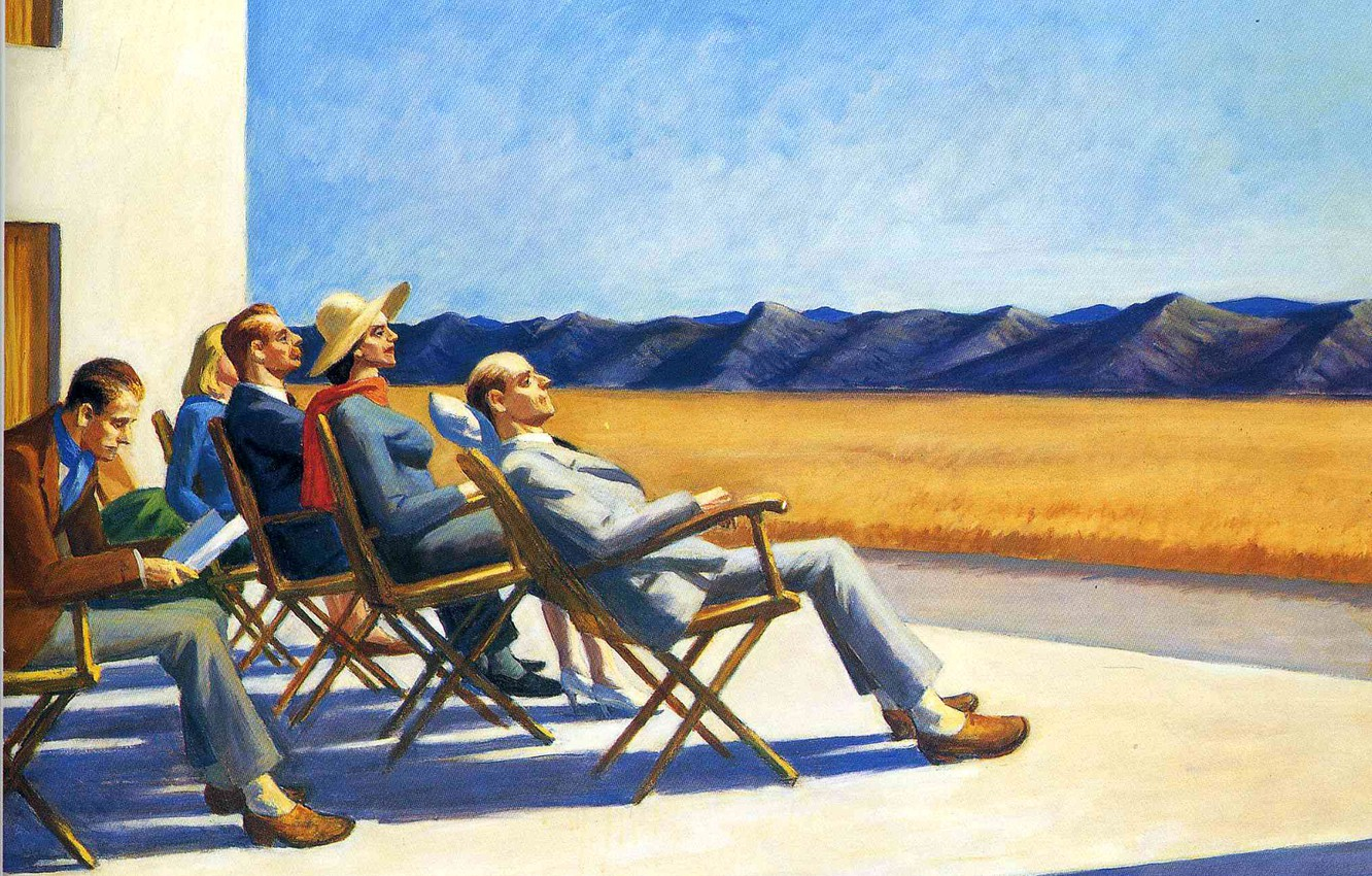Photo wallpaper mountains, people, stay, picture, Edward Hopper, genre, People In The Sun