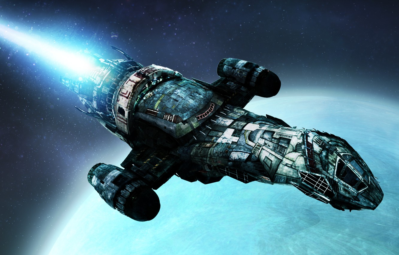 Photo wallpaper space, stars, spaceship, planet, space travel