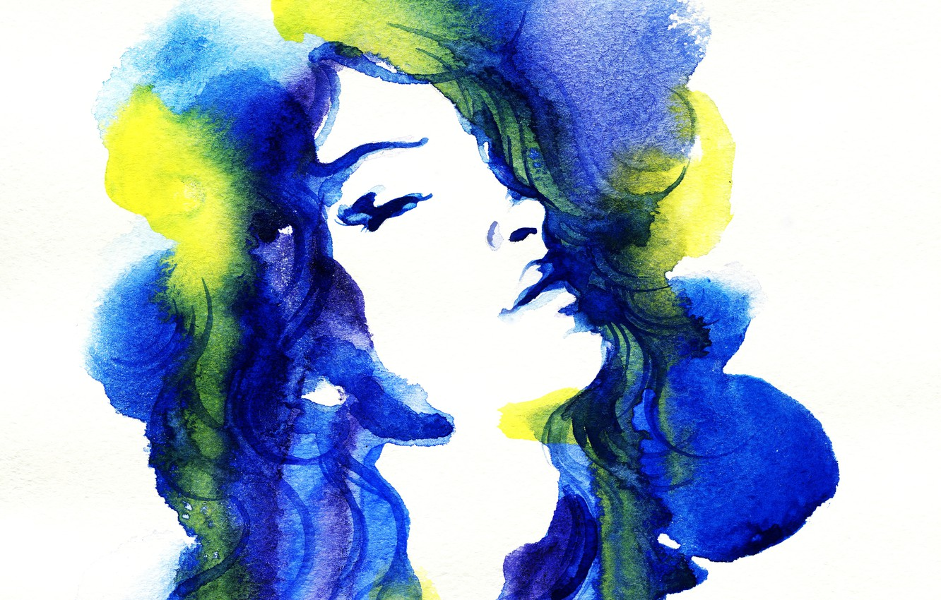 Photo wallpaper eyes, girl, portrait, picture, watercolor, lips, image, yellow, painting, blue, Wallpaper from lolita777