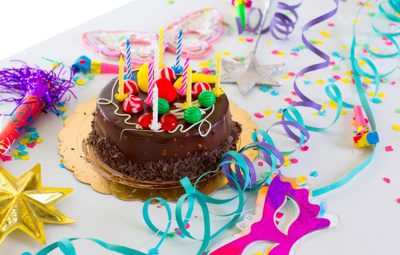Photo wallpaper candles, cake, serpentine, happy birthday, happy birthday
