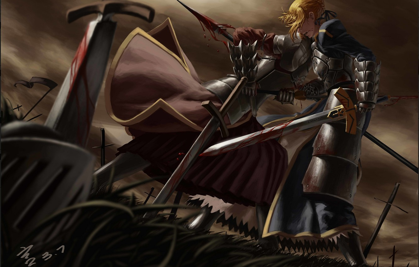 Photo wallpaper grass, weapons, blood, sword, art, spear, battle, saber, fate stay night, wound, mordred