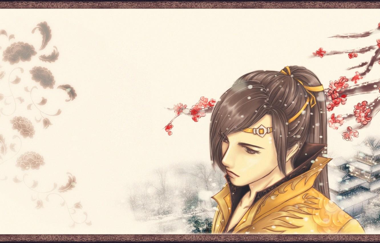 Photo wallpaper fantasy, branch, Sakura, art