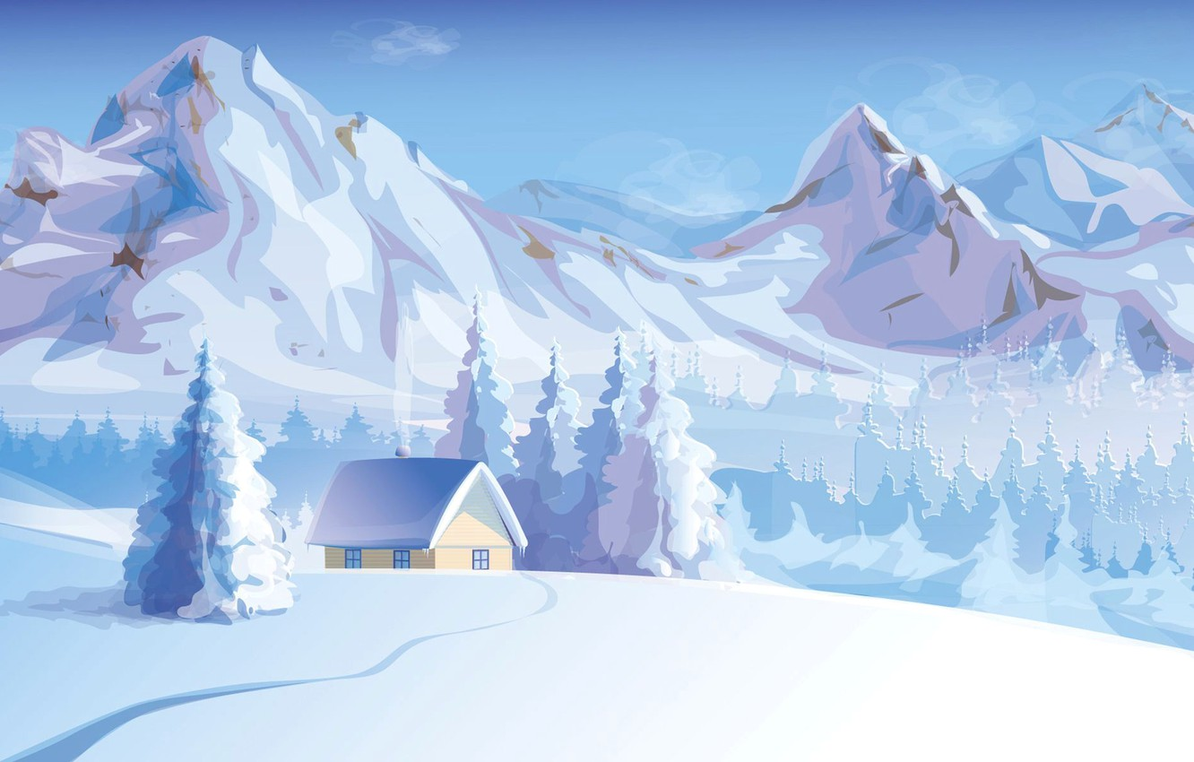 Wallpaper Winter Snow Trees Landscape Mountains Nature House