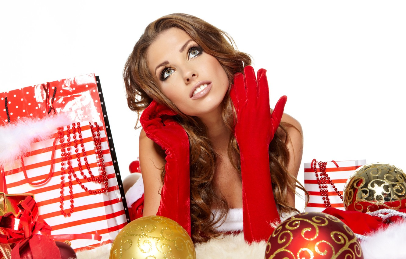 Photo wallpaper girl, decoration, balls, toys, New Year, Christmas, gifts, gloves, brown hair, Christmas, looks, New Year, …