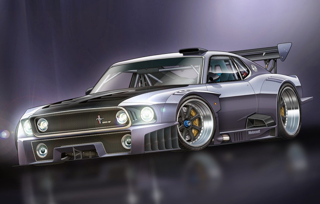 Photo wallpaper Mustang, Ford, Mustang, art, GT-R, Ford, race car, 1000 HP