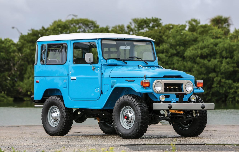 Photo wallpaper car, Toyota, blue, old, japanese, Land Cruiser