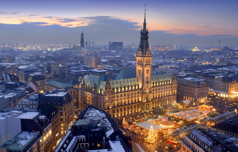Photo wallpaper holiday, Germany, Christmas, panorama, Hamburg, market, town hall