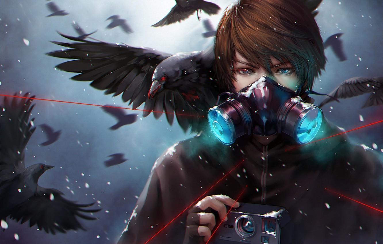 Photo wallpaper snow, birds, mask, art, the camera, laser, crows, guy, udonnodu
