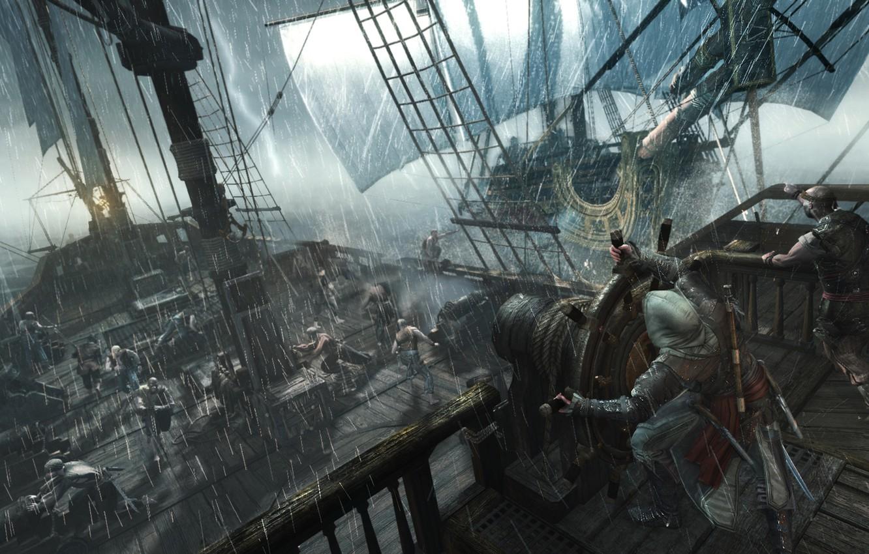 Wallpaper Storm Rain Ship Pirates Killer Assassin Edward