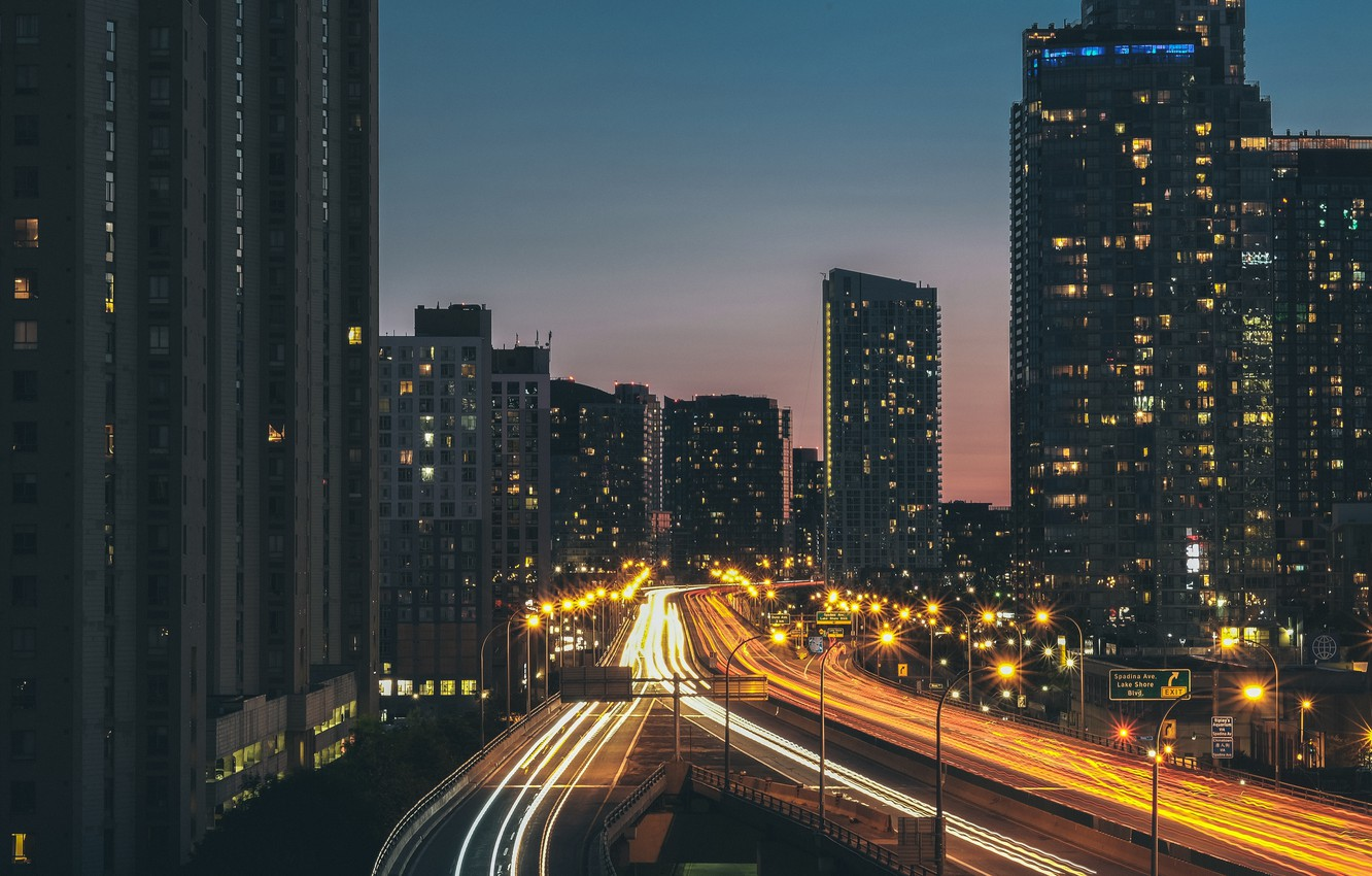 Photo wallpaper road, the city, street, building, the evening, excerpt
