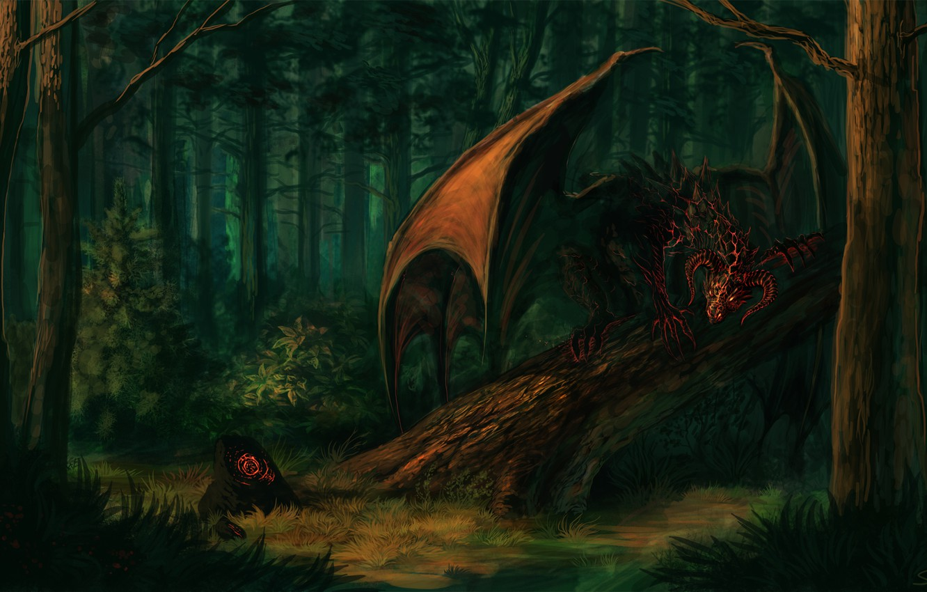 Photo wallpaper forest, look, trees, fiction, stone, wings, the demon, art, horns