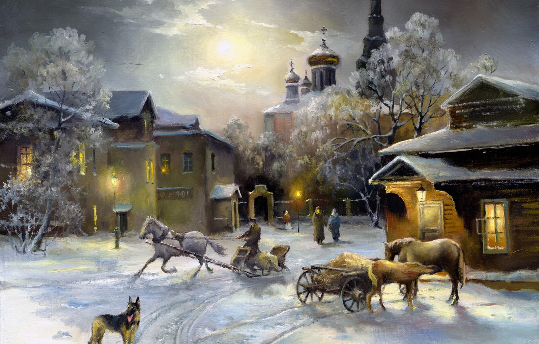 Photo wallpaper the sky, light, snow, Windows, dog, horse, Church, painting, shepherd, winter. home