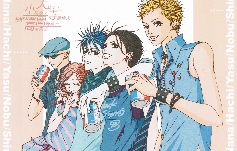 Photo wallpaper piercing, bracelet, cap, drinks, friends, smile, musicians, Nan, nana, hachi, nana komatsu, shinichi okazaki, yasushi …