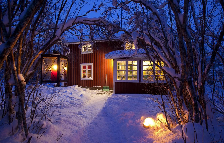 Photo wallpaper light, snow, house, Winter, lights