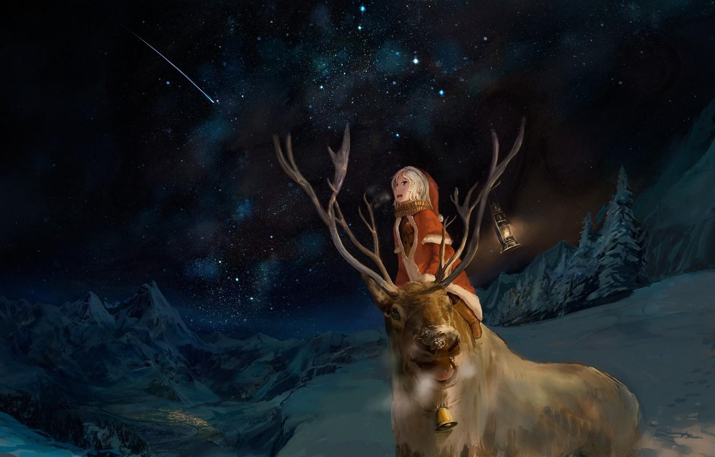 Photo wallpaper winter, night, emotions, boy, deer, art, costume, lantern, starry sky