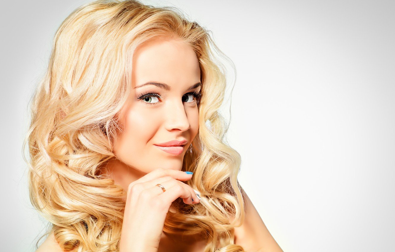 Photo wallpaper look, girl, eyelashes, smile, background, hand, blonde, green eyes, manicure