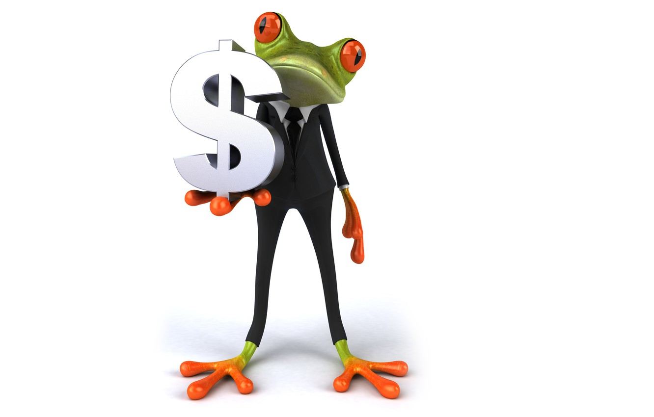 Photo wallpaper graphics, frog, dollar, costume, business, free frog
