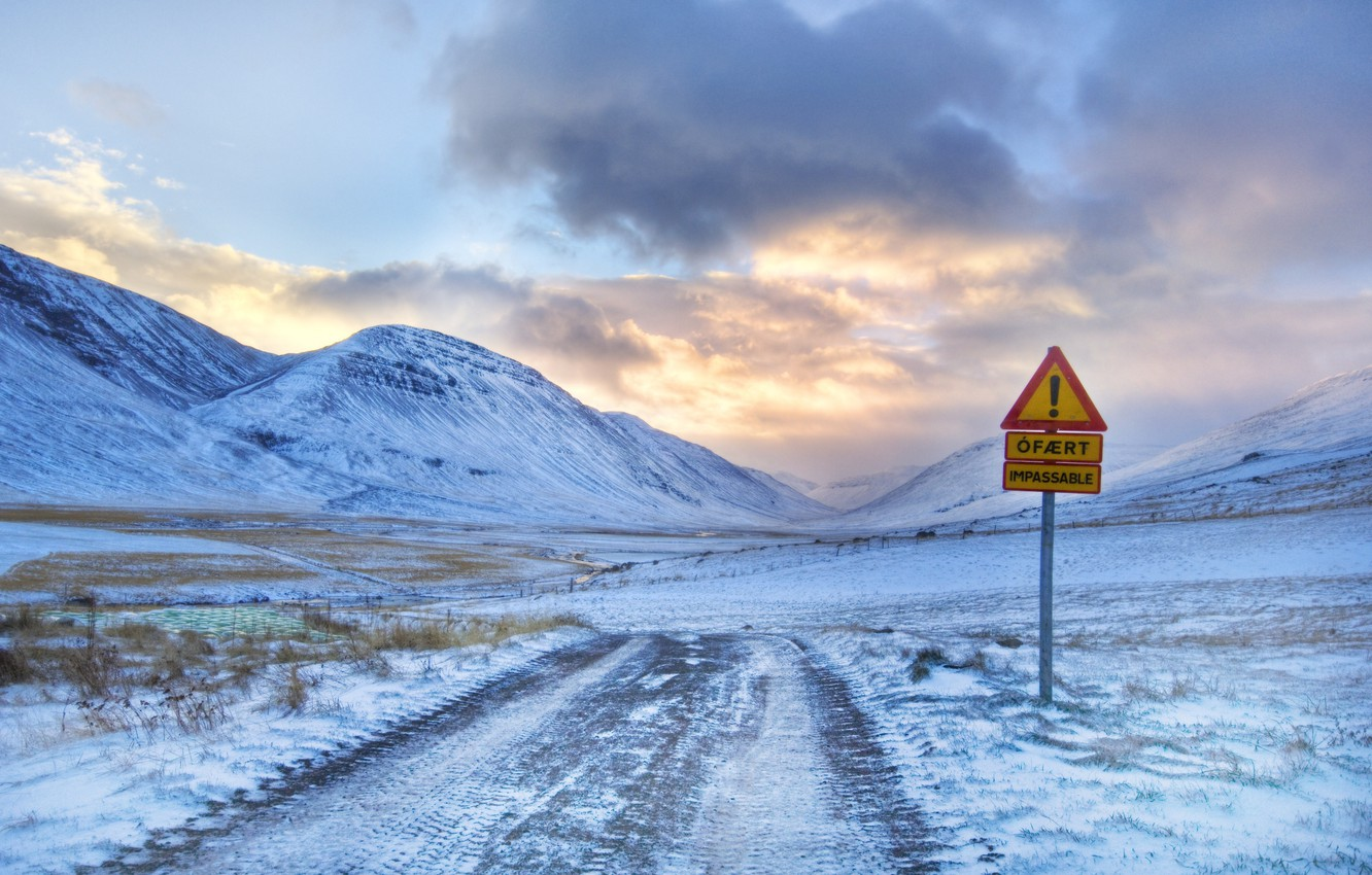Photo wallpaper winter, the road leading to the mountain and the exclamation mark