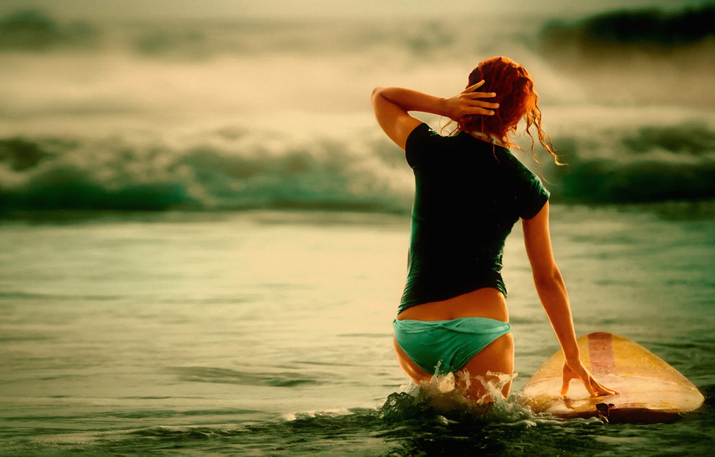 Photo wallpaper sea, wave, the ocean, stay, Board