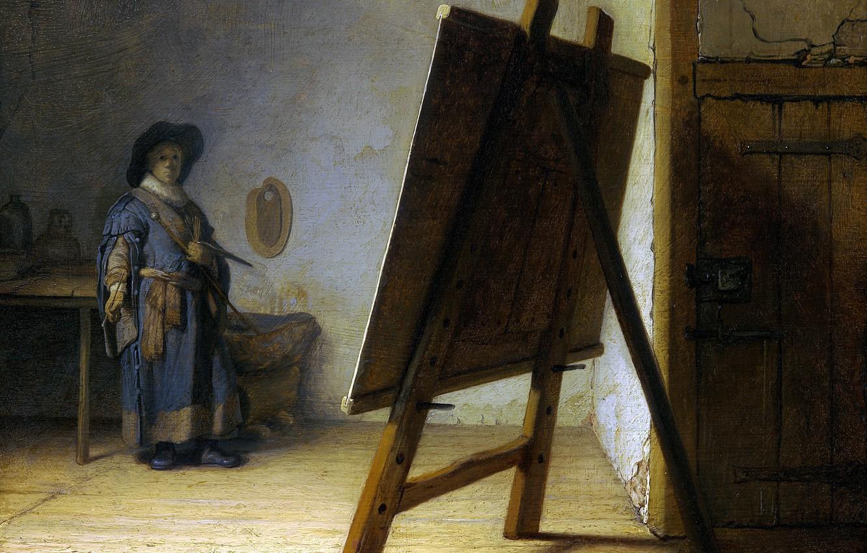 Photo wallpaper picture, self portrait, Rembrandt van Rijn, The artist in His Studio