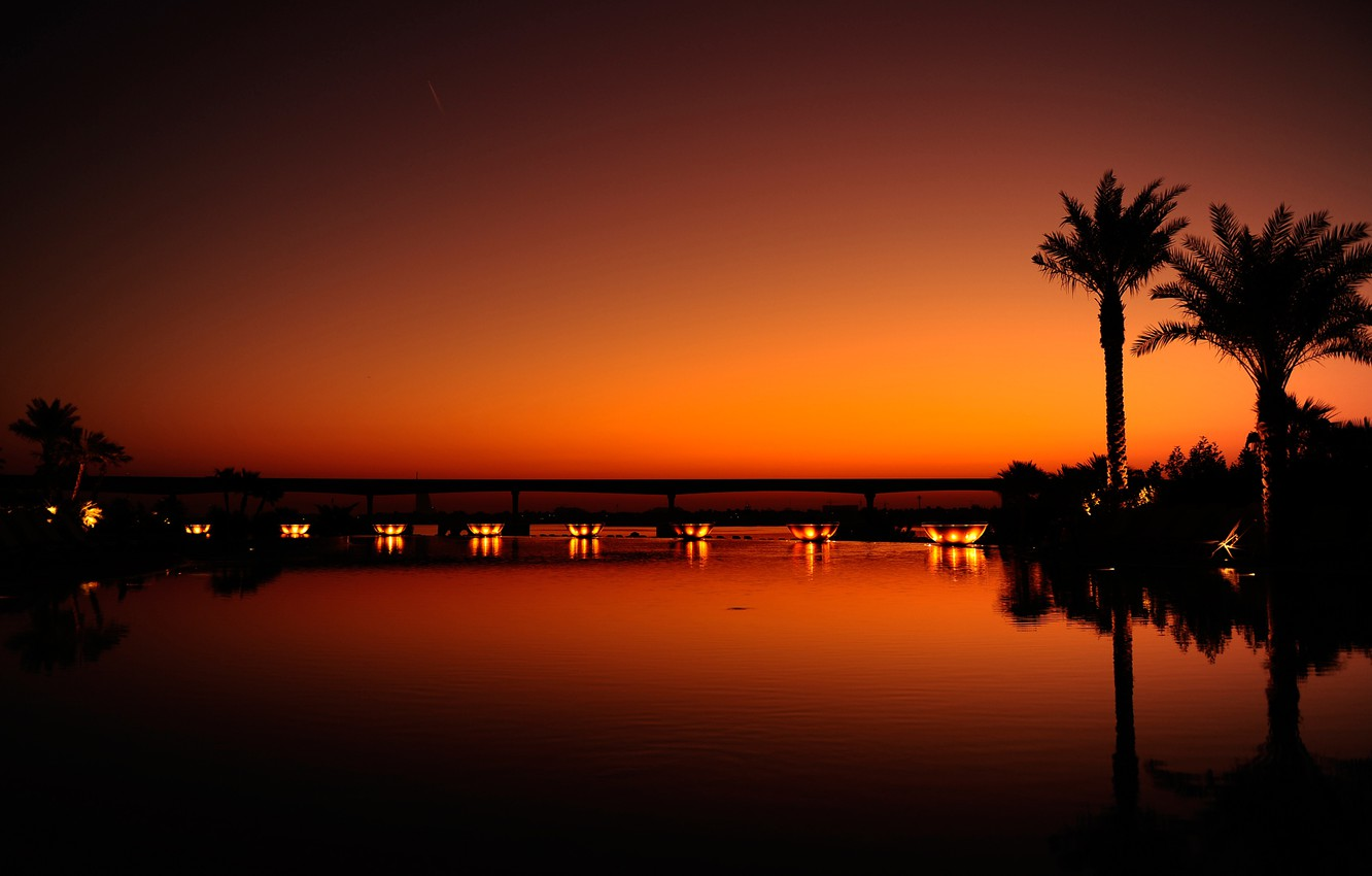 Photo wallpaper water, light, sunset, night, orange, the city, reflection, palm trees, black, the evening, Dubai