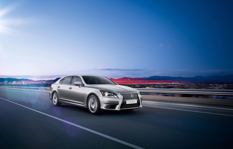 Photo wallpaper Auto, Road, Lexus, Grey, Lexus, The front, LS-EU