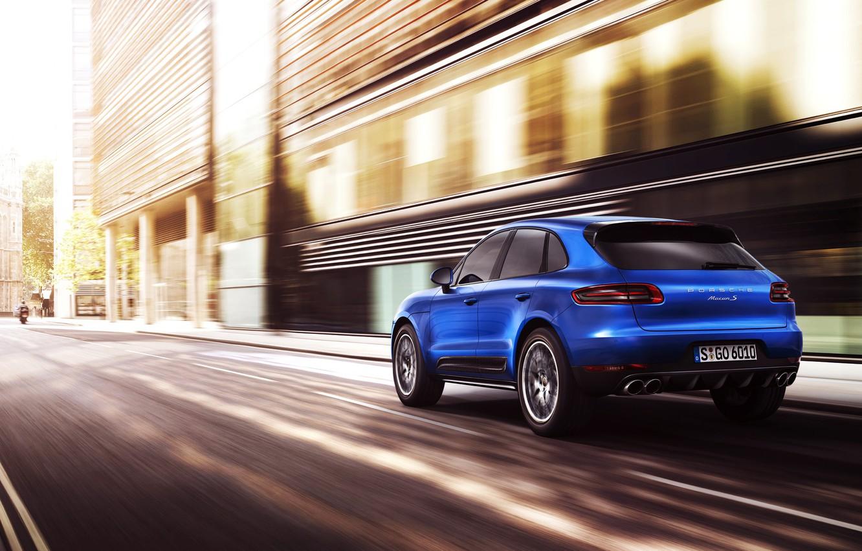 Photo wallpaper Auto, Road, Blue, The city, Porsche, Machine, in motion, SUV, Rear view, Macan