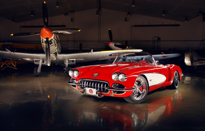 Photo wallpaper red, tuning, Corvette, Chevrolet, hangar, twilight, Chevrolet, drives, classic, tuning, the front, aircraft, custom, Corvette, …