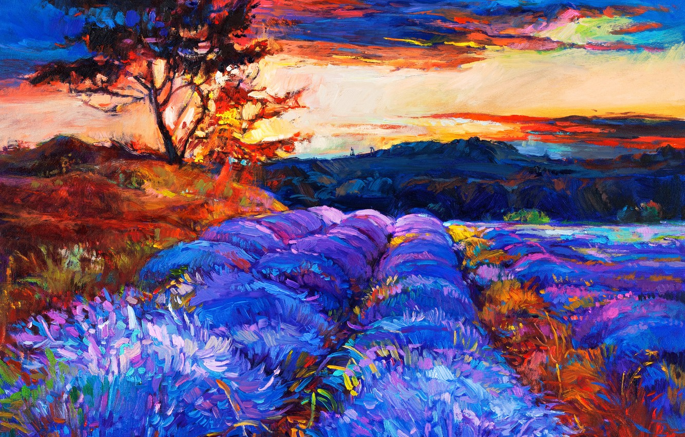 Photo wallpaper the sky, flowers, nature, painting, landscape. trees