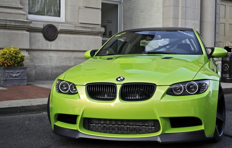 Photo wallpaper Auto, BMW, Wall, House, Green, Tuning, Machine